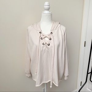 NWT PPLA Lace Up Off White Hoodie Sweatshirt
